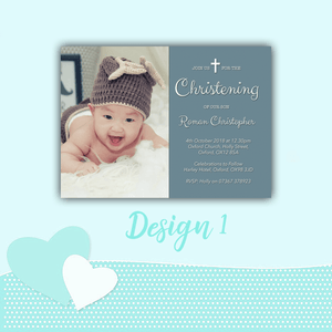 Aspire Designs Personalised Christening Baptism Invitations with Photo | Boy or Girl Invites 10 / Yes / Blue (Boy)