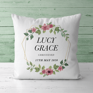Aspire Designs Personalised Christening Baptism Naming Day Cushion | Baby Christening Gift Idea Yes / Single Sided