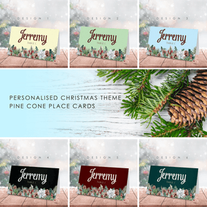Aspire Designs Personalised Christmas Pine Cone Garland Name Place Cards for Conference & Party
