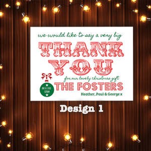 Aspire Designs Personalised Christmas Thank You Cards | Festive Xmas Thank You Notes 10 / Yes / Design 1