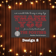 Load image into Gallery viewer, Aspire Designs Personalised Christmas Thank You Cards | Festive Xmas Thank You Notes 10 / Yes / Design 2