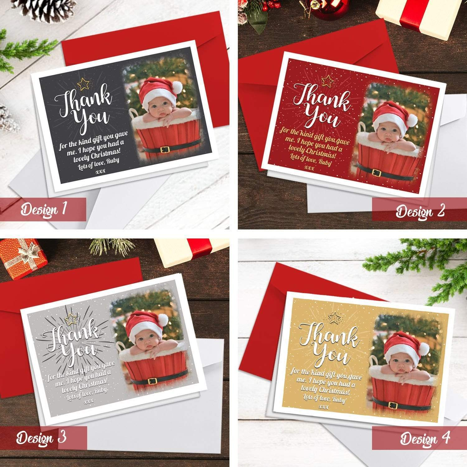 Christmas Thank You Cards.Personalised Christmas Thank You Cards With Photo Folded A5 Cards