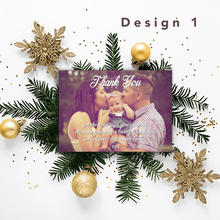 Load image into Gallery viewer, Aspire Designs Personalised Christmas Thank You Cards with Photo | Thank You Notes 10 / Yes / Design 1