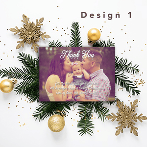 Aspire Designs Personalised Christmas Thank You Cards with Photo | Thank You Notes 10 / Yes / Design 1