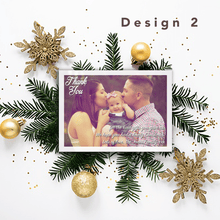 Load image into Gallery viewer, Aspire Designs Personalised Christmas Thank You Cards with Photo | Thank You Notes 10 / Yes / Design 2