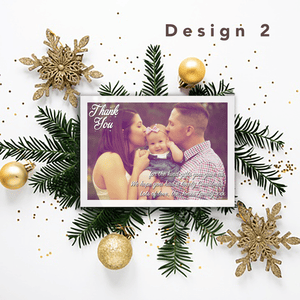 Aspire Designs Personalised Christmas Thank You Cards with Photo | Thank You Notes 10 / Yes / Design 2