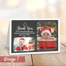 Load image into Gallery viewer, Personalised Christmas Thank You Cards with Photos | Folded A6 Cards