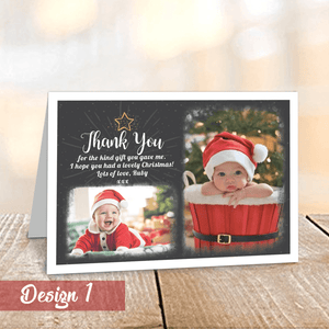 Personalised Christmas Thank You Cards with Photos | Folded A6 Cards