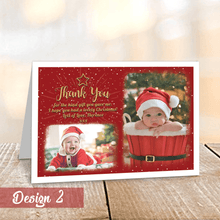 Load image into Gallery viewer, Aspire Designs Personalised Christmas Thank You Cards with Photos | Folded A6 Cards 1 / No / Yes