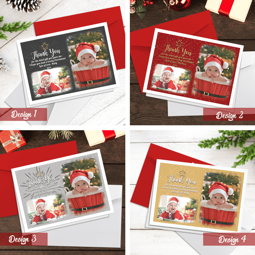 Aspire Designs Personalised Christmas Thank You Cards with Photos | Folded A6 Cards 10 / No / Yes