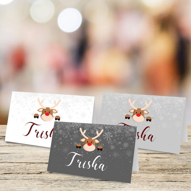 Personalised Christmas Theme Table Place Name Cards Printed for Weddings, Conferences, Parties