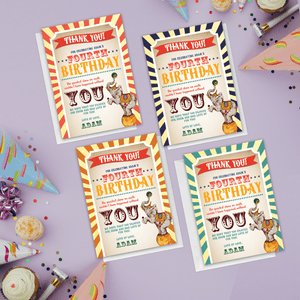 Aspire Designs Personalised Circus Carnival Show Birthday Thank You Cards