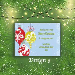 Aspire Designs Personalised Clipart Bauble Merry Christmas Cards Xmas Postcards 10 / Yes