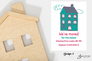 Aspire Designs Personalised Clipart House New Home Change of Address Cards