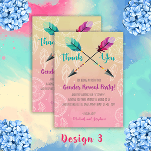 Aspire Designs Personalised Contemporary Boho Gender Reveal Thank You Cards 10 / Yes / Design 3