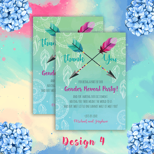 Aspire Designs Personalised Contemporary Boho Gender Reveal Thank You Cards 10 / Yes / Design 4