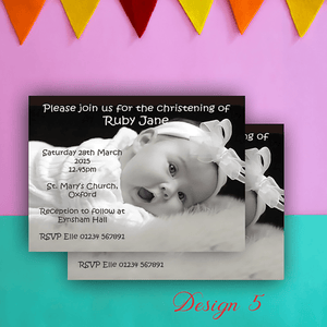 Aspire Designs Personalised Contemporary Photo Christening | Baptism Invitations 10 / Yes