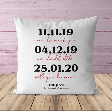 Aspire Designs Personalised Couple Anniversary Cushion | Pillow Case & Insert | Gift Idea for Her or Him Yes / Single Sided