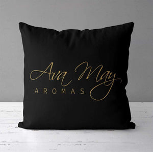 Aspire Designs Personalised Cushion Cover & Pillow Insert | Ava May Aromas Inspired | Gift Idea Black / No