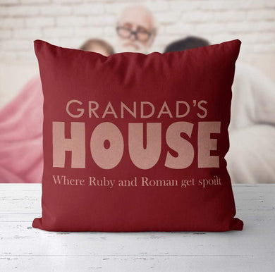 Aspire Designs Personalised Cushion Fathers Day Birthday Gift For Grandad House | Daddy Grandpa Maroon / No