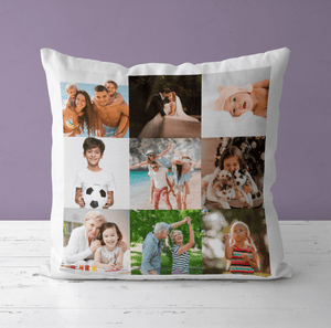 Aspire Designs Personalised Cushion | Pillow Case Cover & Insert | Custom Gift with 9 Photos Yes / Single Sided