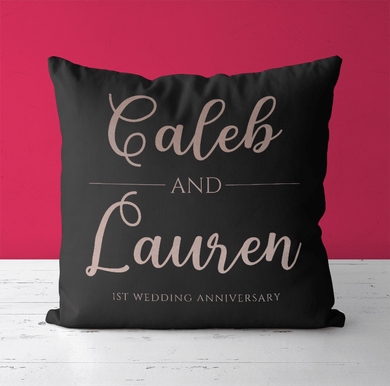 Aspire Designs Personalised Cushion Pillow & Insert Present | Anniversary Cushion | Cute Gift Black / No