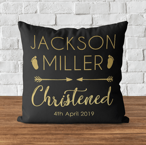 Aspire Designs Personalised Cushion Pillow & Insert Present | Christening Gift Pillow cushion Black / No