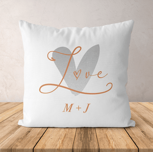 Aspire Designs Personalised Cushion Pillow & Insert Present | Love Couple Initials | Cute Gift White / No