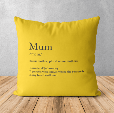 Aspire Designs Personalised Cushion Pillow & Insert Present | Name Definition | Cute Gift Yellow / No