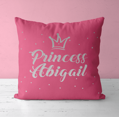 Aspire Designs Personalised Cushion Pillow & Insert Present | Princess Name Cushion | Cute Gift Pink / No