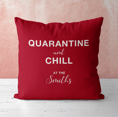 Aspire Designs Personalised Cushion Pillow & Insert Present | Quarantine and Chill | Cute Gift | Lots of Pillowcase Cover Colours Maroon / No