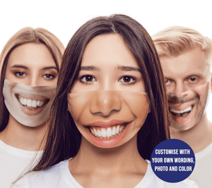 Aspire Designs Personalised Custom Photo Face Mask |Funny Face Mask Smiling Mouth Design | Reusable Washable Face Mask