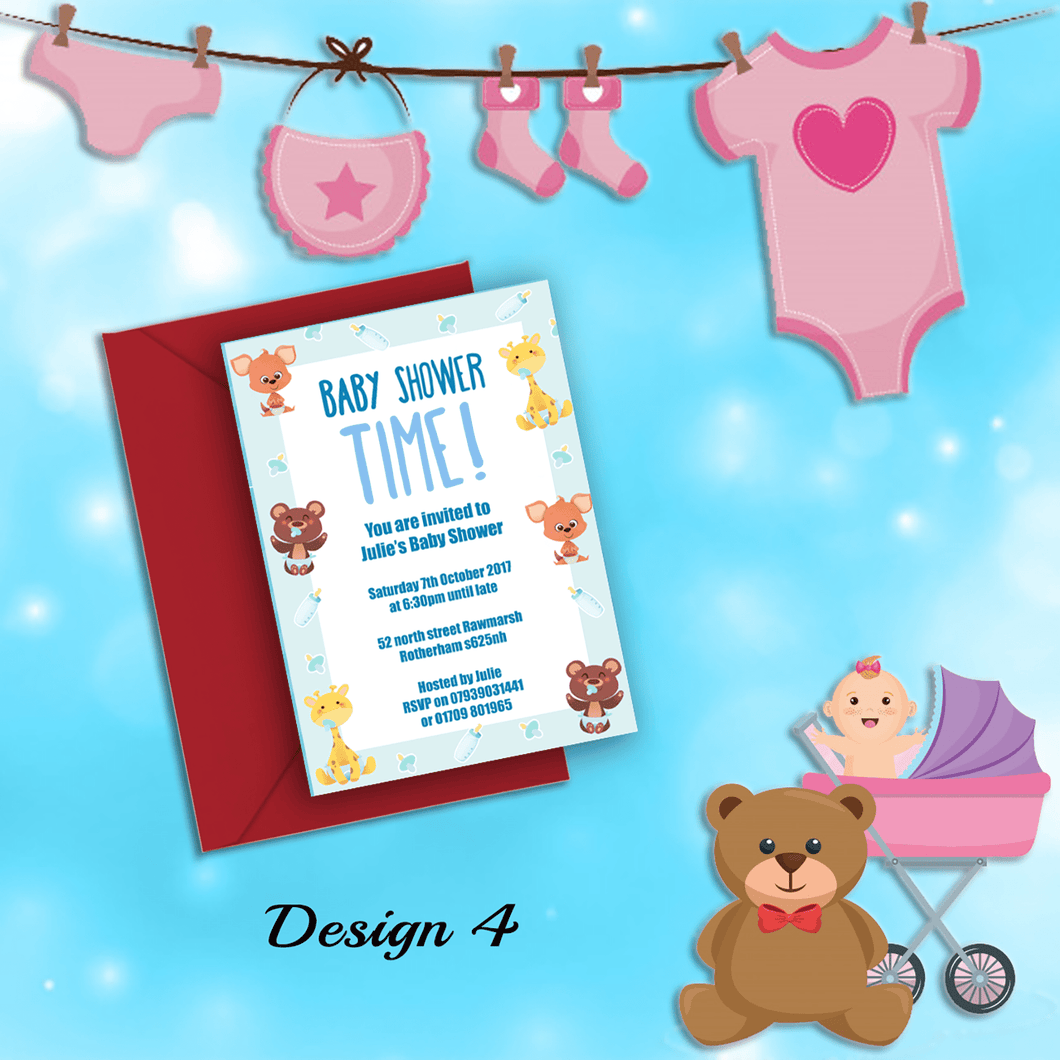 Aspire Designs Personalised Cute Animal Baby Shower Invitations 10 / Yes
