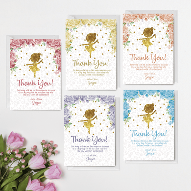Aspire Designs Personalised Cute Ballerina Floral Glittery Baby Shower Thank You Card Floral