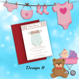Aspire Designs Personalised Cute Girly Baby Shower Invitations 10 / Yes