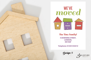 Aspire Designs Personalised Cute New Home Announcement Change of Address Cards
