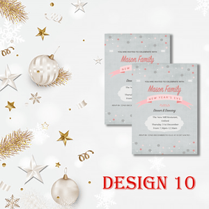 Aspire Designs Personalised Cute New Years Eve Party Celebration Invitations 10 / Yes