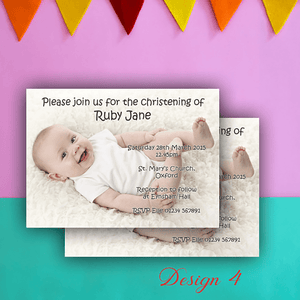 Aspire Designs Personalised Cute Photo Christening | Baptism Invitations 10 / Yes