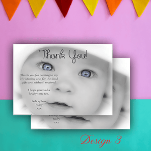 Aspire Designs Personalised Cute Photo Christening | Baptism Thank You Cards 10 / Yes