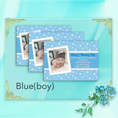 Aspire Designs Personalised Cute Photo Christening | Naming Day | Baptism Invitations 10 / Yes / Blue (Boy)