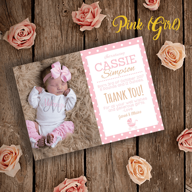 Aspire Designs Personalised Cute Photo New Baby Thank You Cards | Newborn Announcement 10 / Yes / Pink (Girl)