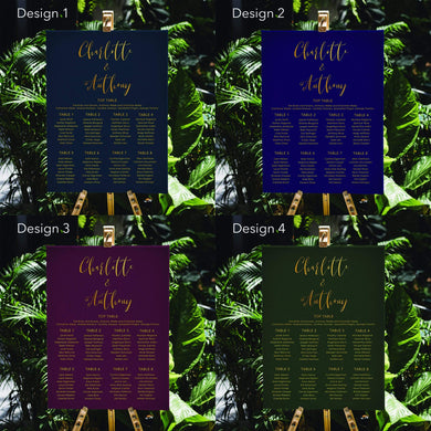 Aspire Designs Personalised Dark Wedding Seating Plan Planner Table Plans Chart Layout