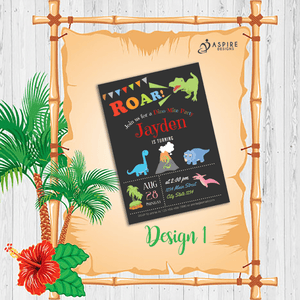 Aspire Designs Personalised Dinosaur Childrens Birthday Party Invitations 10 / Yes / Design 1
