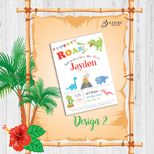 Load image into Gallery viewer, Aspire Designs Personalised Dinosaur Childrens Birthday Party Invitations 10 / Yes / Design 2