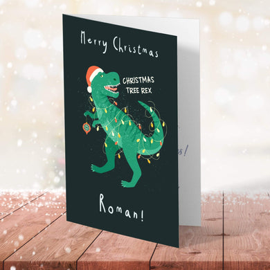 Aspire Designs Personalised Dinosaur Christmas Card for Boys | Kids Child Dino Roar Greeting