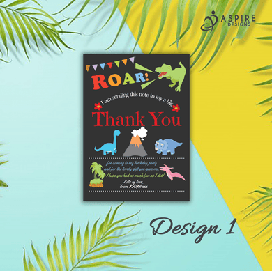 Aspire Designs Personalised Dinosaur Thank You Cards | Childrens Dinosaur Party 10 / Yes / Design 1