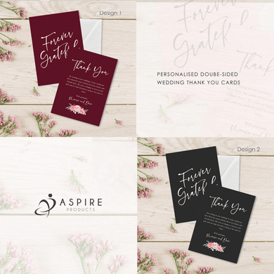 Aspire Designs Personalised Double Sided A6 Wedding Day/Evening Thank You Cards