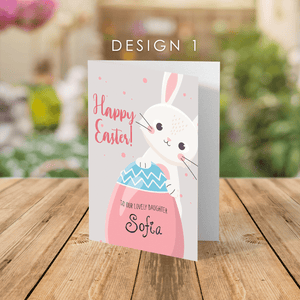 Aspire Designs Personalised Easter Bunny Easter Egg Folded Greeting Cards | Happy Easter Greeting Cards | Daughter Easter Greeting Cards Design 1 / Standard (132x185mm) / Gloss Finish