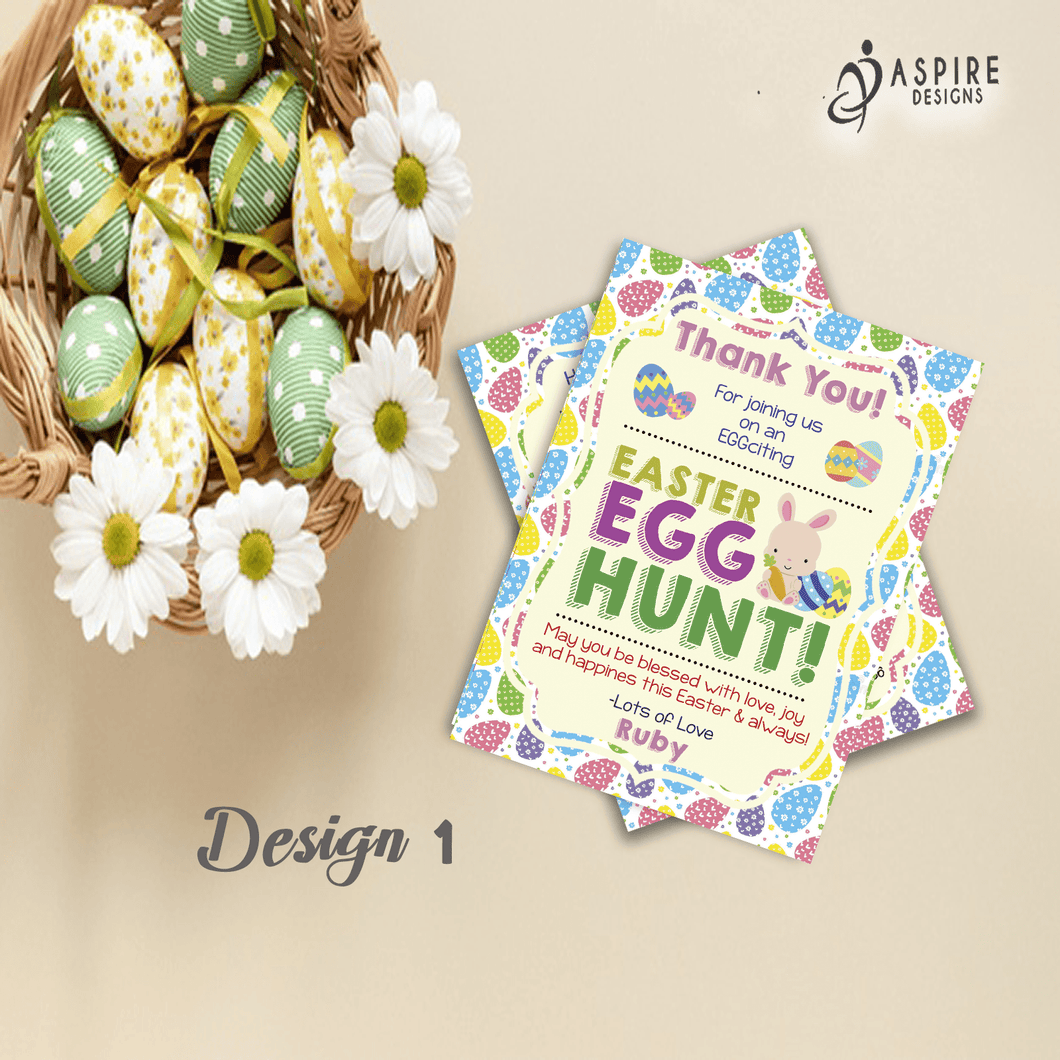 Aspire Designs Personalised Easter Egg Hunt Party Thank You Cards | Easter Thank You Notes 10 / Yes / Design 1