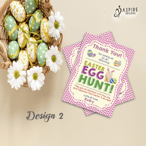 Aspire Designs Personalised Easter Egg Hunt Party Thank You Cards | Easter Thank You Notes 10 / Yes / Design 2
